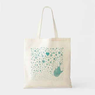 Amor de la burbuja de los pescados bolsa lienzo