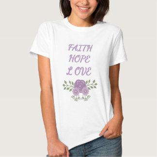 Amor de la esperanza de la fe camisetas