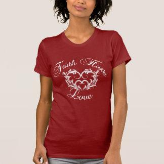Amor de la esperanza de la fe con el corazón camisetas