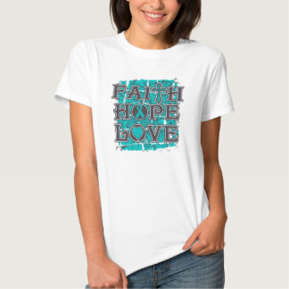 Amor de la esperanza de la fe del cáncer ovárico camiseta