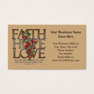 Amor de la esperanza de la fe, diseño floral con tarjeta de visita