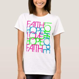Amor de la esperanza de la fe, el color vibrante camiseta