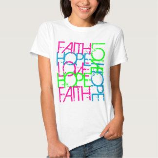Amor de la esperanza de la fe, el color vibrante camisetas