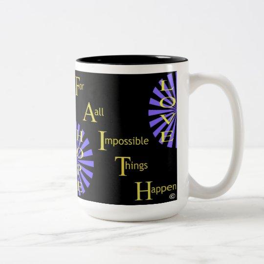 Amor de la esperanza de la fe taza de café de dos colores