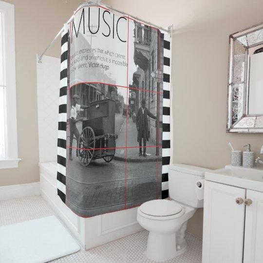 Amor de la música y de la nostalgia cortina de baño