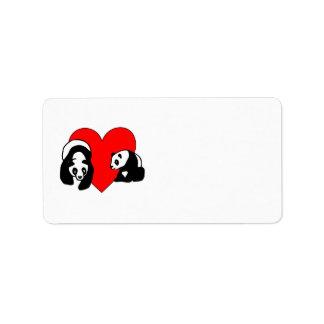 Amor de la panda etiqueta de dirección