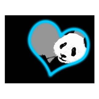 amor de la panda. luz de neón postal