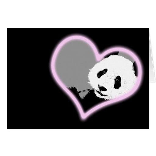 amor de la panda. luz de neón tarjeta