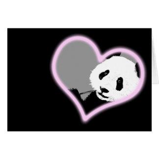 amor de la panda. luz de neón tarjeta de felicitación