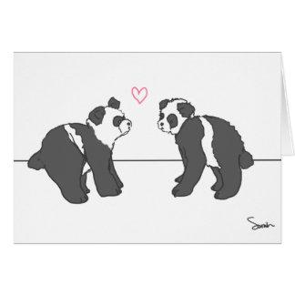 Amor de la panda tarjeta