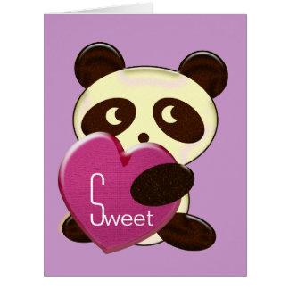 Amor de la panda tarjeta de felicitación grande