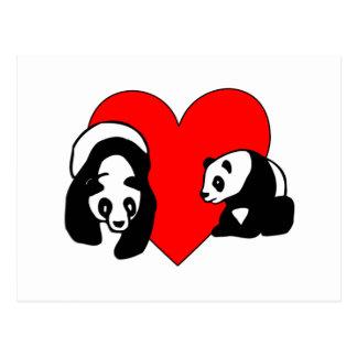 Amor de la panda tarjeta postal