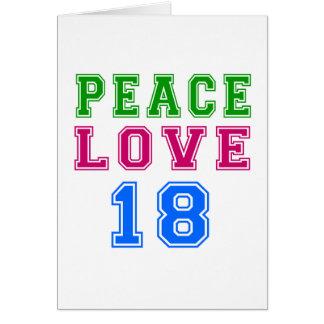 Amor de la paz 18 diseños del cumpleaños felicitación