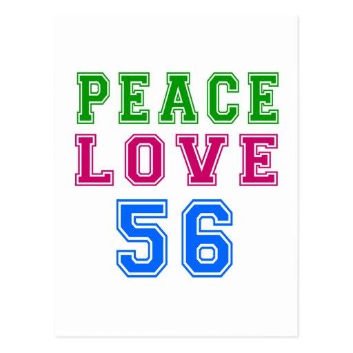 Amor de la paz 56 diseños del cumpleaños postales