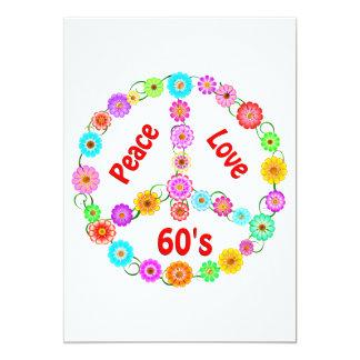 amor de la paz 60s invitación 12,7 x 17,8 cm