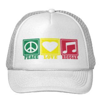 amor de la paz del reggae del rasta gorras