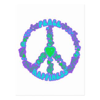 Amor de la paz feliz postal