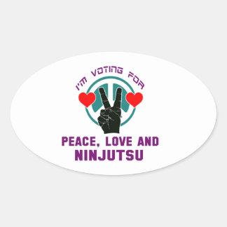 Amor de la paz y Ninjutsu. Pegatina Ovalada