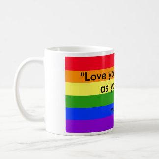 amor de la taza de café del arco iris su vecino