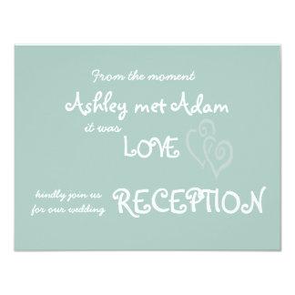 Amor de la verde menta con la recepción nupcial de invitación 10,8 x 13,9 cm