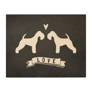 Amor de las siluetas de Lakeland Terrier Impresión En Madera