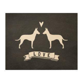 Amor de las siluetas de Manchester Terrier Impresión En Madera