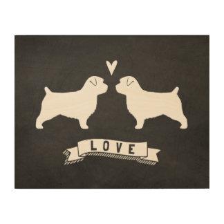 Amor de las siluetas de Norfolk Terrier Impresión En Madera