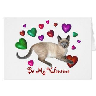 Amor de los corazones del gatito tarjeta de felicitación
