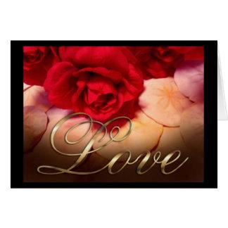 Amor de los dólares de arena de los rosas rojos tarjeta