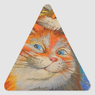 Amor de los gatos pegatina triangular