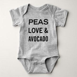 Amor de los guisantes y retruécano de la comida body para bebé
