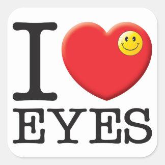 Amor de los ojos calcomanias cuadradas