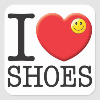 Amor de los zapatos pegatina cuadrada