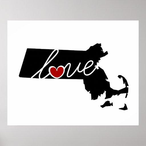 ¡Amor de Massachusetts!  Regalos para los amantes Poster
