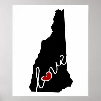 ¡Amor de New Hampshire!  Regalos para los amantes Impresiones