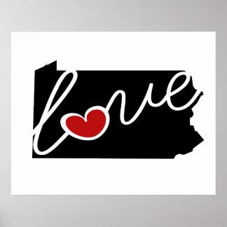 ¡Amor de Pennsylvania!  Regalos para los amantes Posters