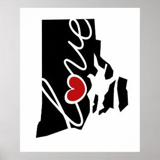¡Amor de Rhode Island!  Regalos para los amantes Posters