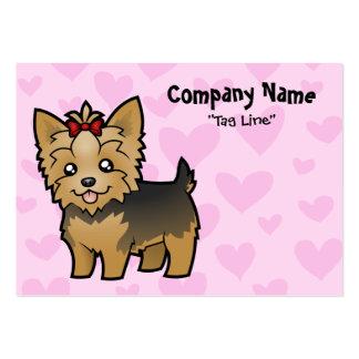 Amor de Yorkshire Terrier (pelo corto con el arco) Tarjetas De Visita Grandes