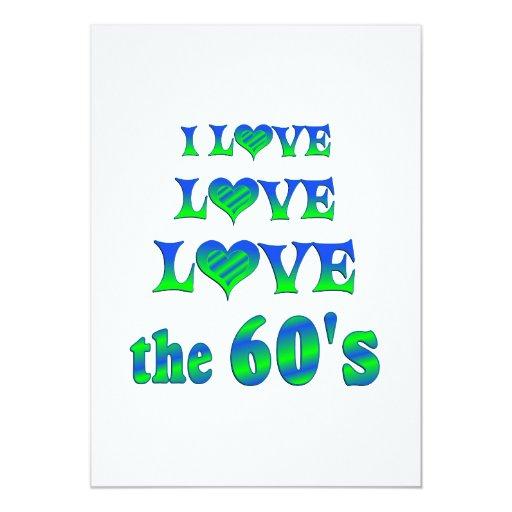 Amor del amor los años 60 invitación 12,7 x 17,8 cm