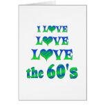 Amor del amor los años 60 tarjeta