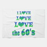 Amor del amor los años 60 toallas de mano