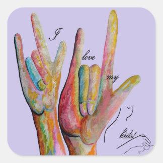 Amor del ASL I mis niños Pegatina Cuadrada