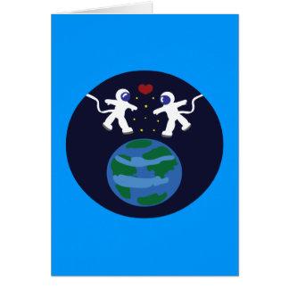 Amor del astronauta tarjetas