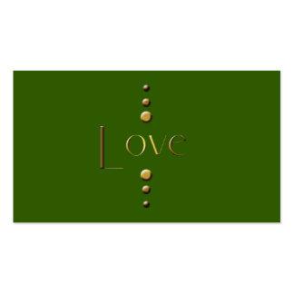 Amor del bloque del oro de 3 puntos y fondo verde tarjetas de visita