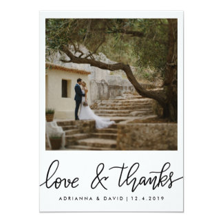 Amor del boda de la foto de los pares y escritura invitación 12,7 x 17,8 cm