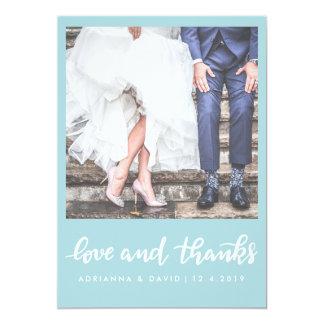 Amor del boda de la foto del azul el | de la menta invitación 12,7 x 17,8 cm