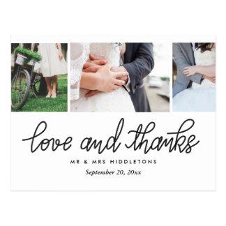 Amor del boda y tipografía el | de las gracias postal