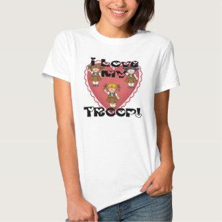 Amor del brownie I mis corazones de la tropa Camisetas