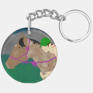 Amor del caballo y del jinete llavero redondo acrílico a doble cara
