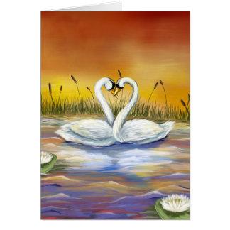 Amor del cisne tarjeta de felicitación